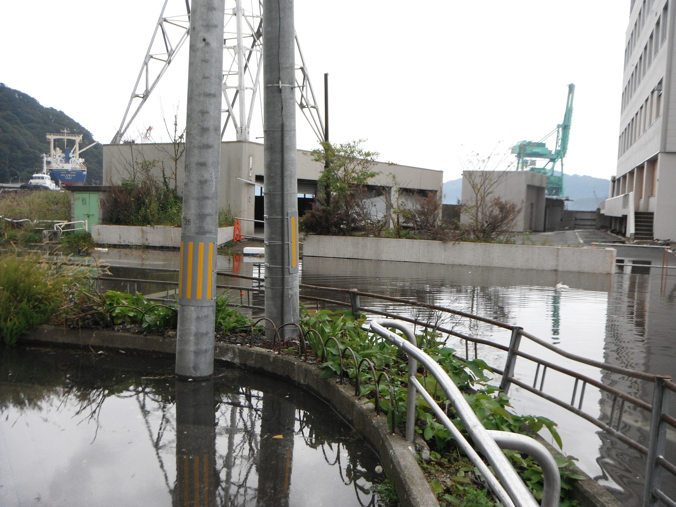 市営ビル、魚河岸方向の冠水